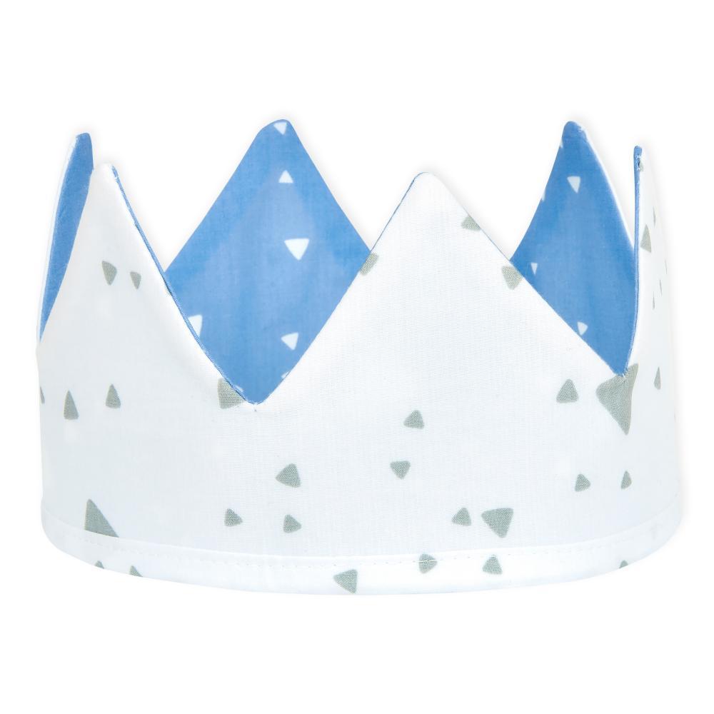 KraftKids Stoffkrone abgerundete Dreiecke weiß auf Blau