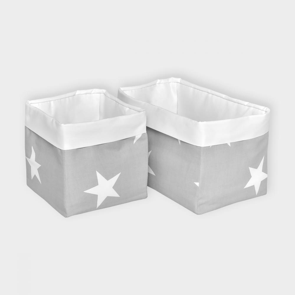 KraftKids Körbchen große weiße Sterne auf Grau und Uniweiss 20 x 33 x 20 cm