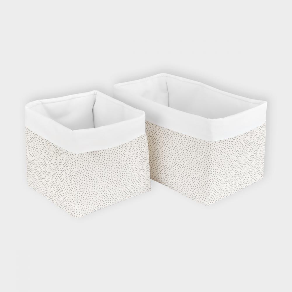 KraftKids Körbchen graue unregelmäßige Punkte auf Weiß 20 x 20 x 20 cm