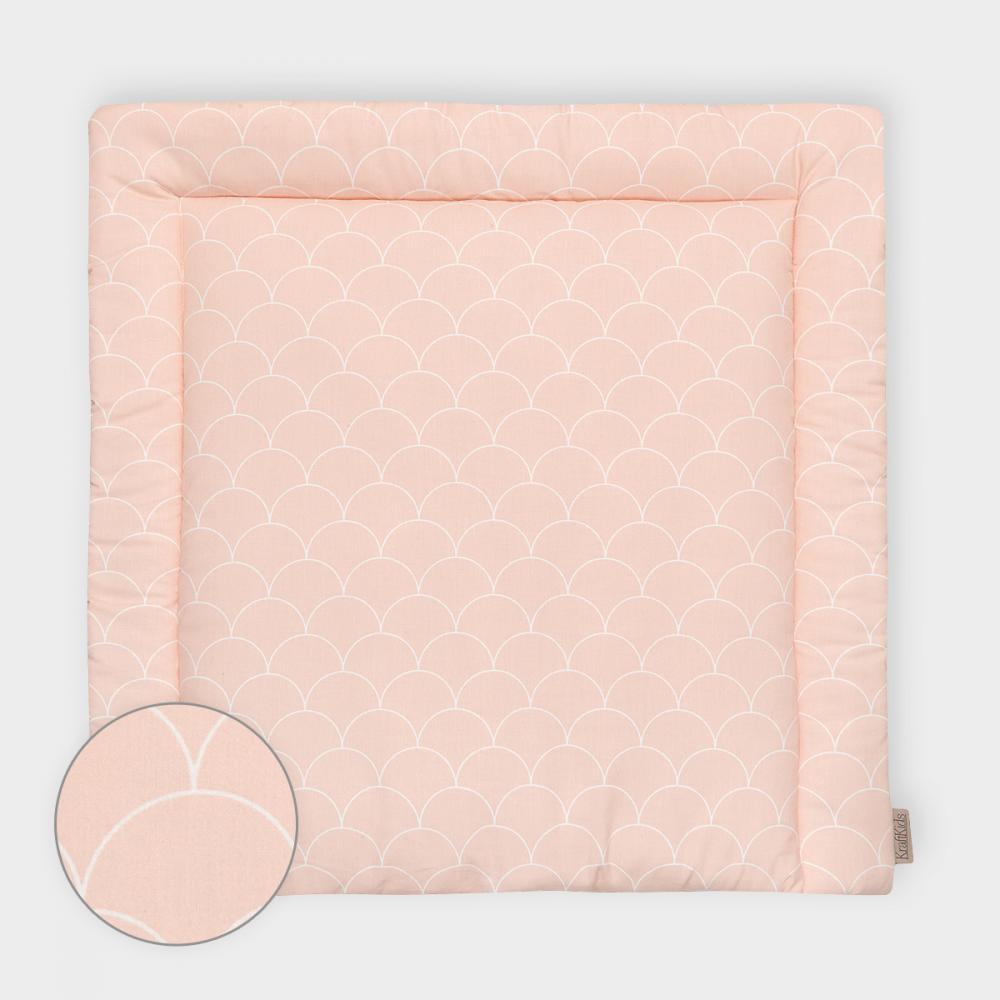 KraftKids Wickelauflage weiße Halbkreise auf Pastelrosa breit 60 x tief 70 cm passend für Waschmaschinen-Aufsatz von KraftKids
