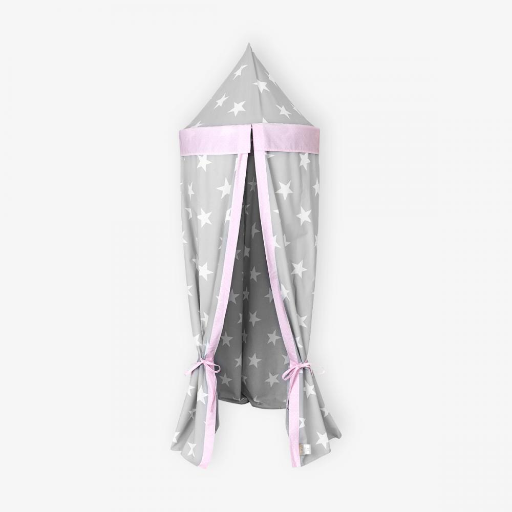 KraftKids Hängezelt große weiße Sterne auf Grau und weiße Punkte auf Rosa Baldachin