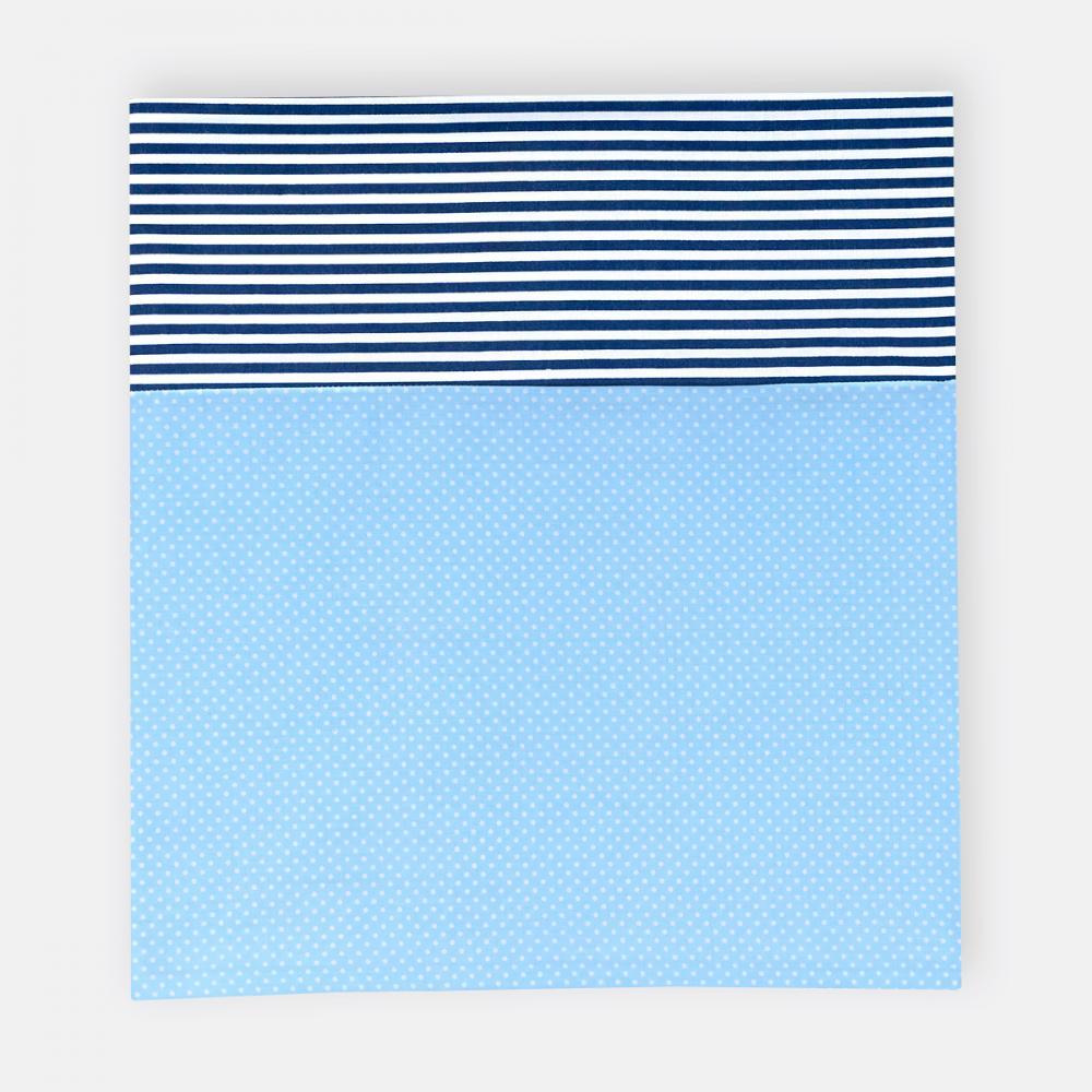 KraftKids Stilltuch weiße Punkte auf Hellblau und Streifen dunkelblau