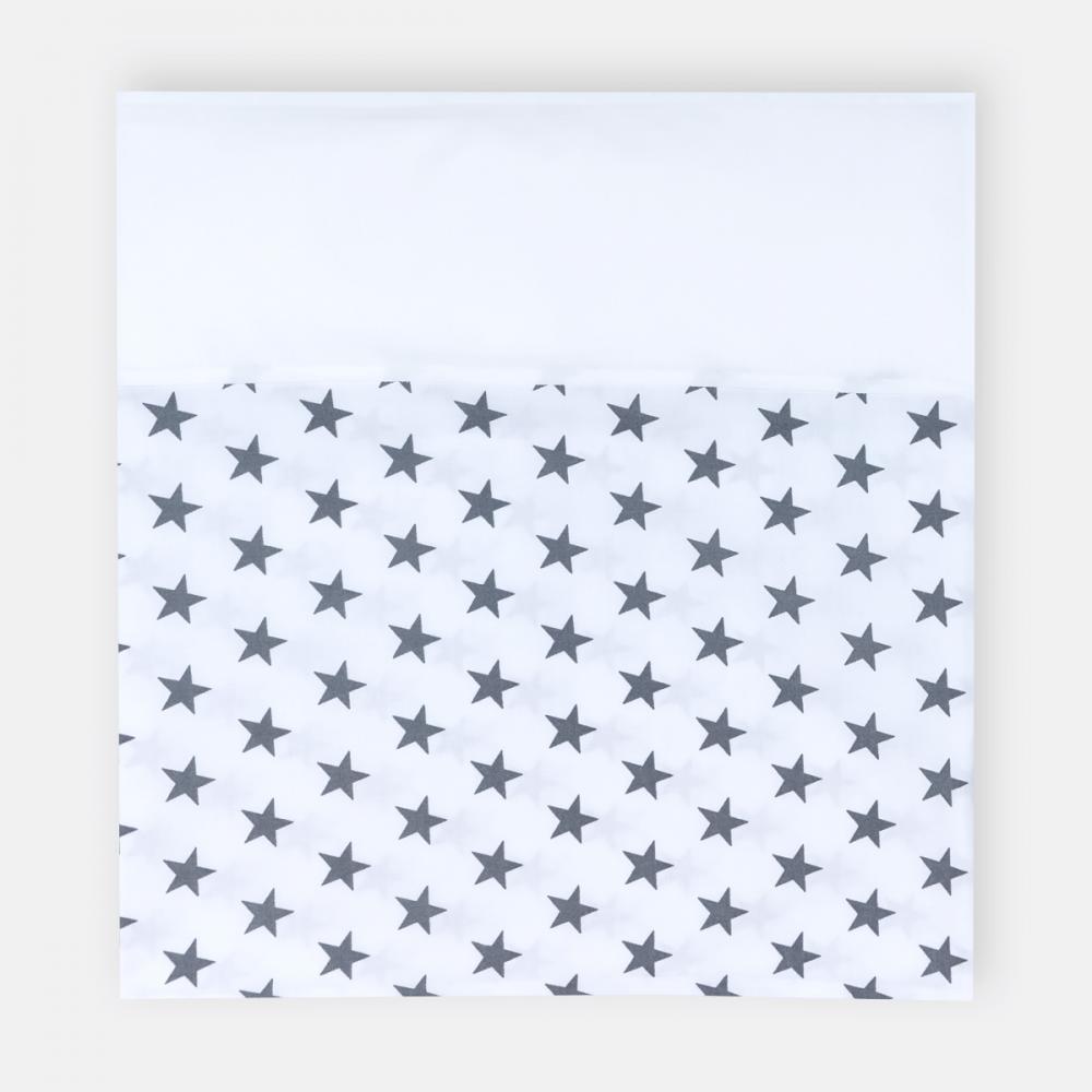 KraftKids Stilltuch Uniweiss und kleine graue Sterne auf Weiss