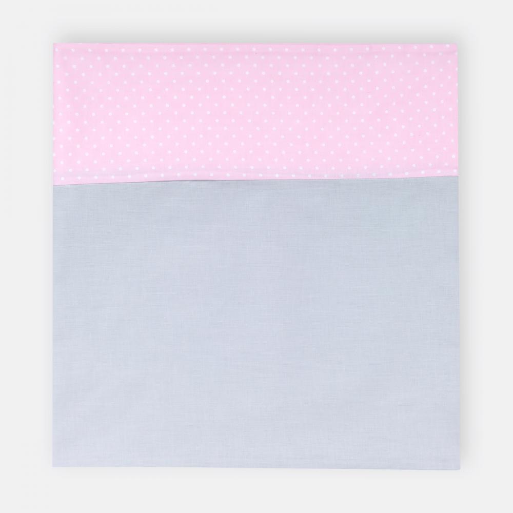 KraftKids Stilltuch Unigrau und weiße Punkte auf Rosa