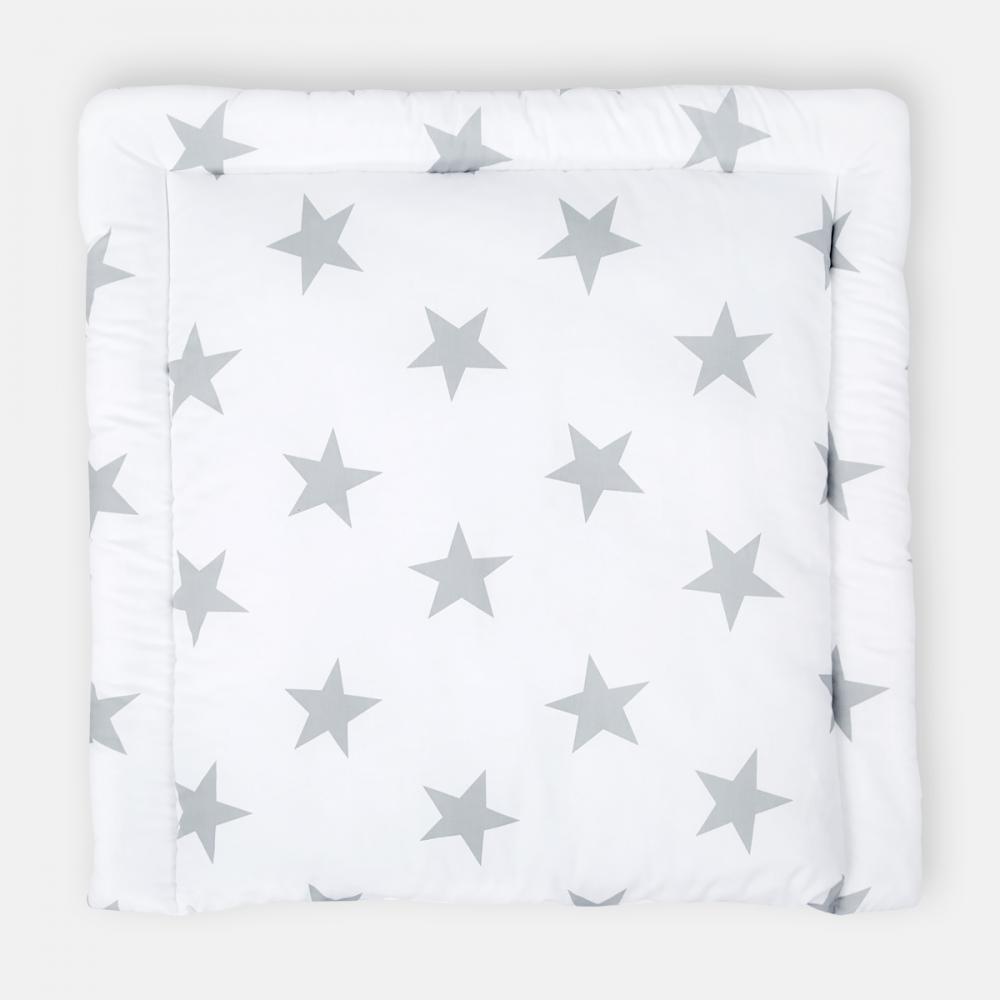 KraftKids Wickelauflage große graue Sterne auf Weiss breit 75 x tief 70 cm