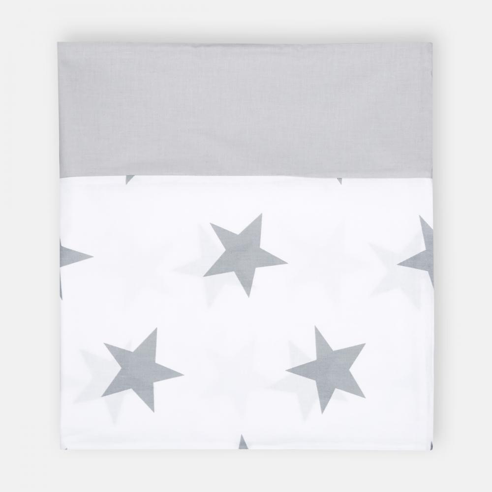 KraftKids Stilltuch große graue Sterne auf Weiss und Unigrau