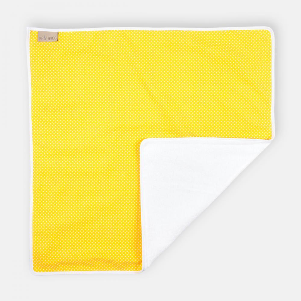 KraftKids Wickelunterlage weiße Punkte auf Gelb 3 Lagen wasserundurchlässig weich Frotte 100% Baumwolle