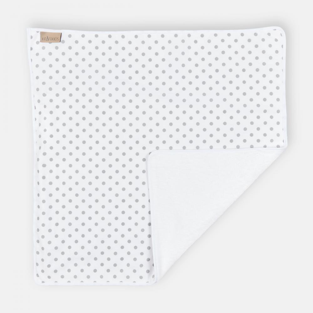 KraftKids Wickelunterlage graue Punkte auf Weiss 3 Lagen wasserundurchlässig weich Frotte 100% Baumwolle