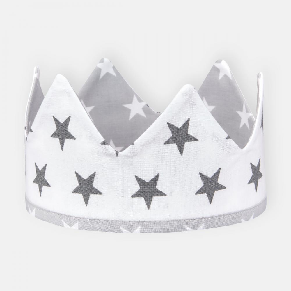 KraftKids Stoffkrone kleine graue Sterne auf Weiss