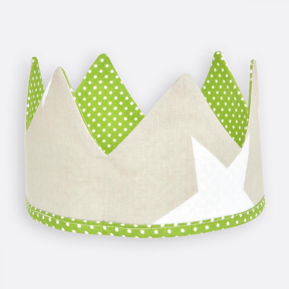 KraftKids Stoffkrone weiße Punkte auf Grün