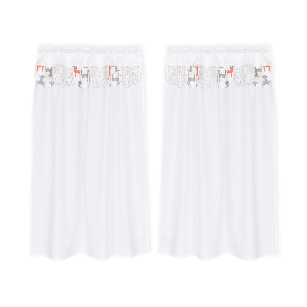 KraftKids Hochbettvorhänge kleine Rehkitze grau orange auf Weiß und graue unregelmäßige Punkte auf Weiß Inhalt: 2 Schals