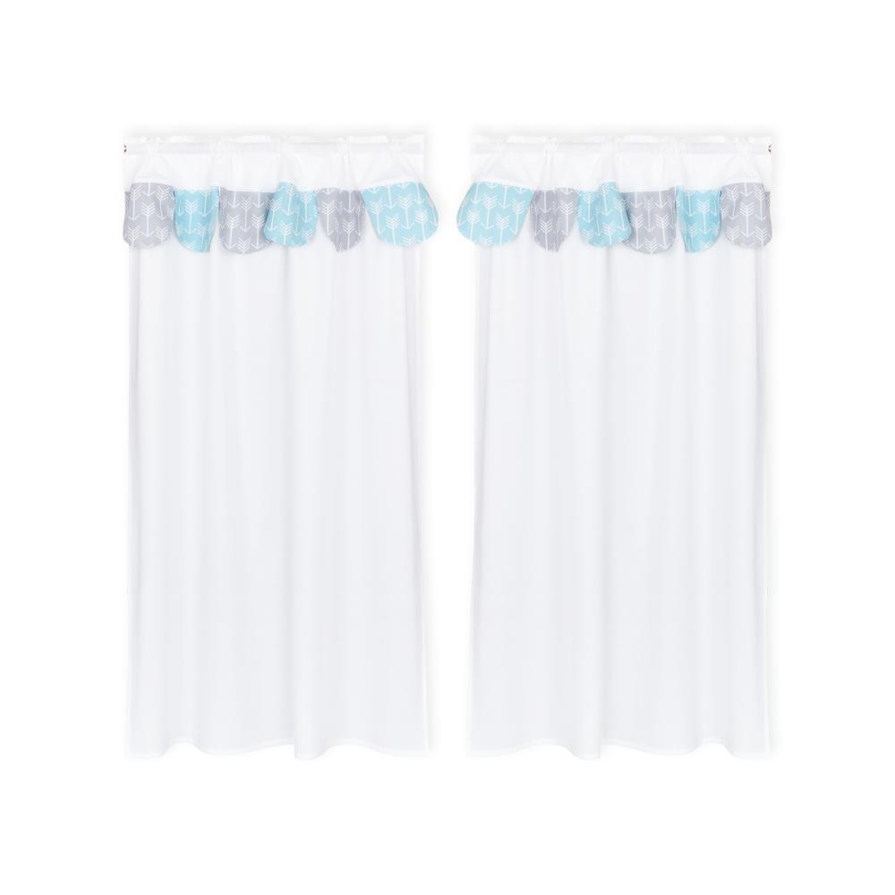 KraftKids Hochbettvorhänge weiße Pfeile auf Blau und weiße Pfeile auf Grau Inhalt: 2 Schals
