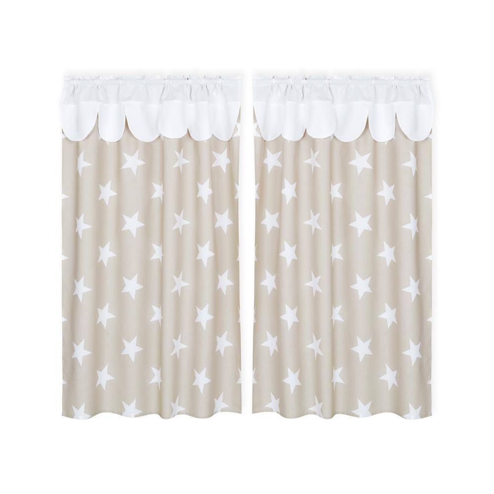KraftKids Hochbettvorhänge große weiße Sterne auf Beige und Uniweiss Inhalt: 2 Schals