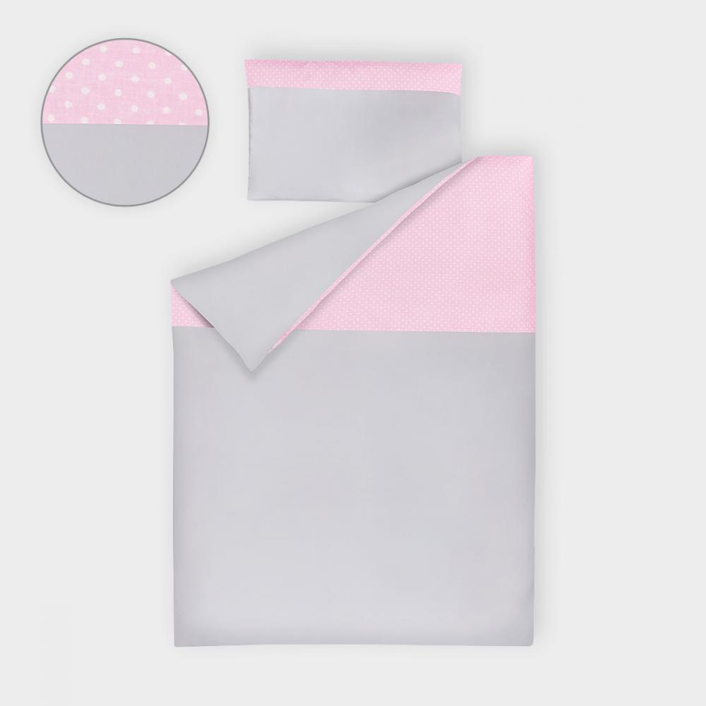 KraftKids Bettwäscheset Unigrau und weiße Punkte auf Rosa 100 x 135 cm, Kissen 40 x 60 cm