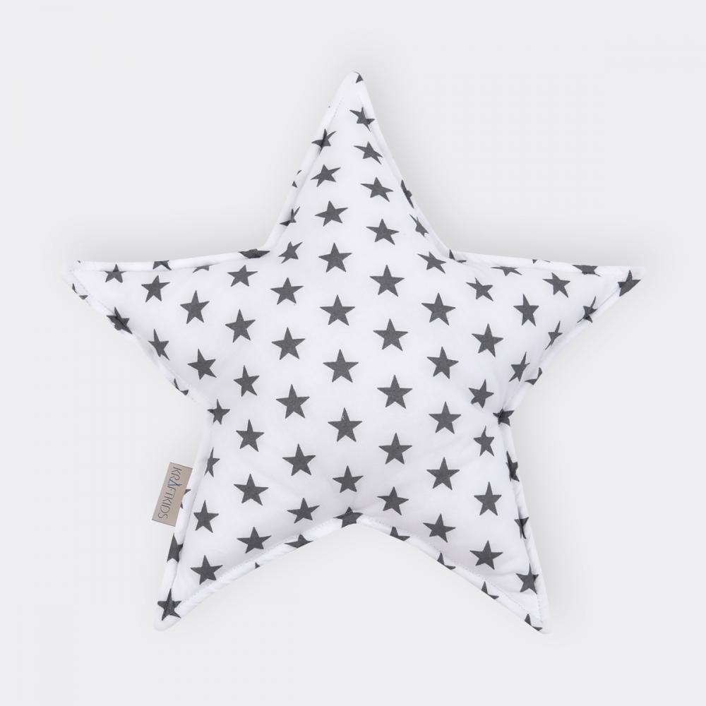 KraftKids Dekoration Sternkissen kleine graue Sterne auf Weiss