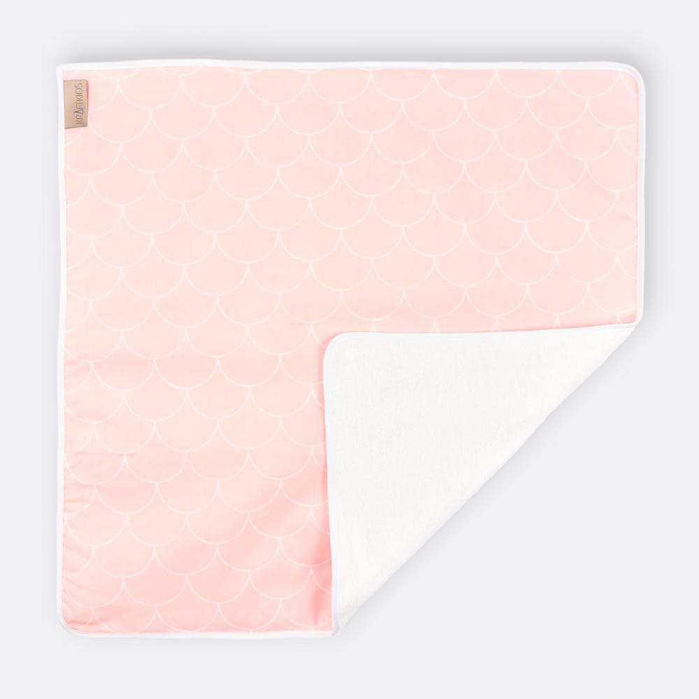 KraftKids Wickelunterlage weiße Halbkreise auf Pastelrosa 3 Lagen wasserundurchlässig weich Frotte 100% Baumwolle