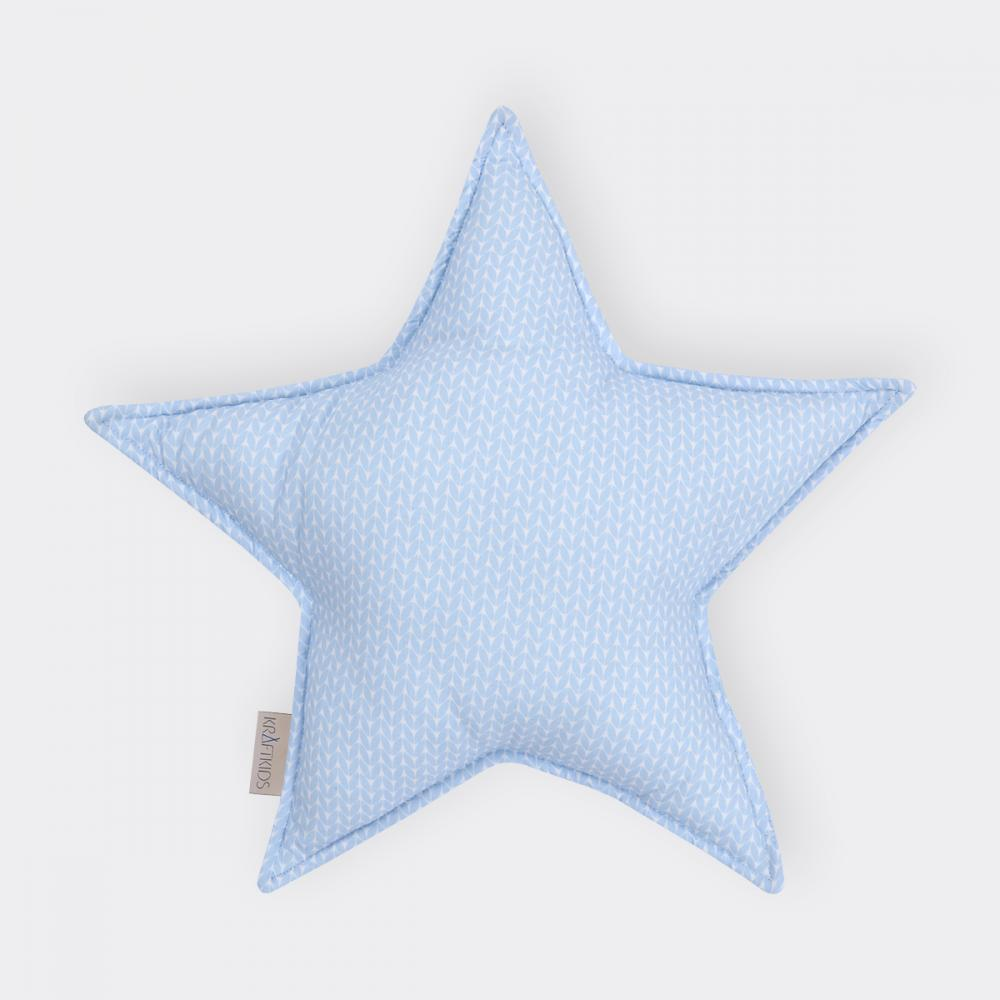 KraftKids Sternkissen kleine Blätter hellblau auf Weiß