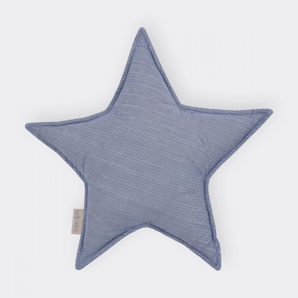 KraftKids Dekoration Sternkissen dünne Streifen dunkelblau