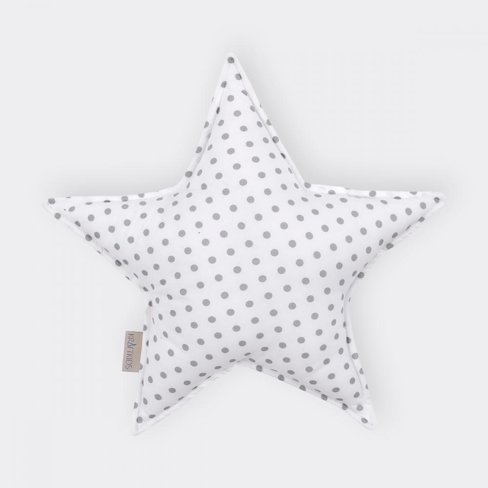 KraftKids Dekoration Sternkissen graue Punkte auf Weiss