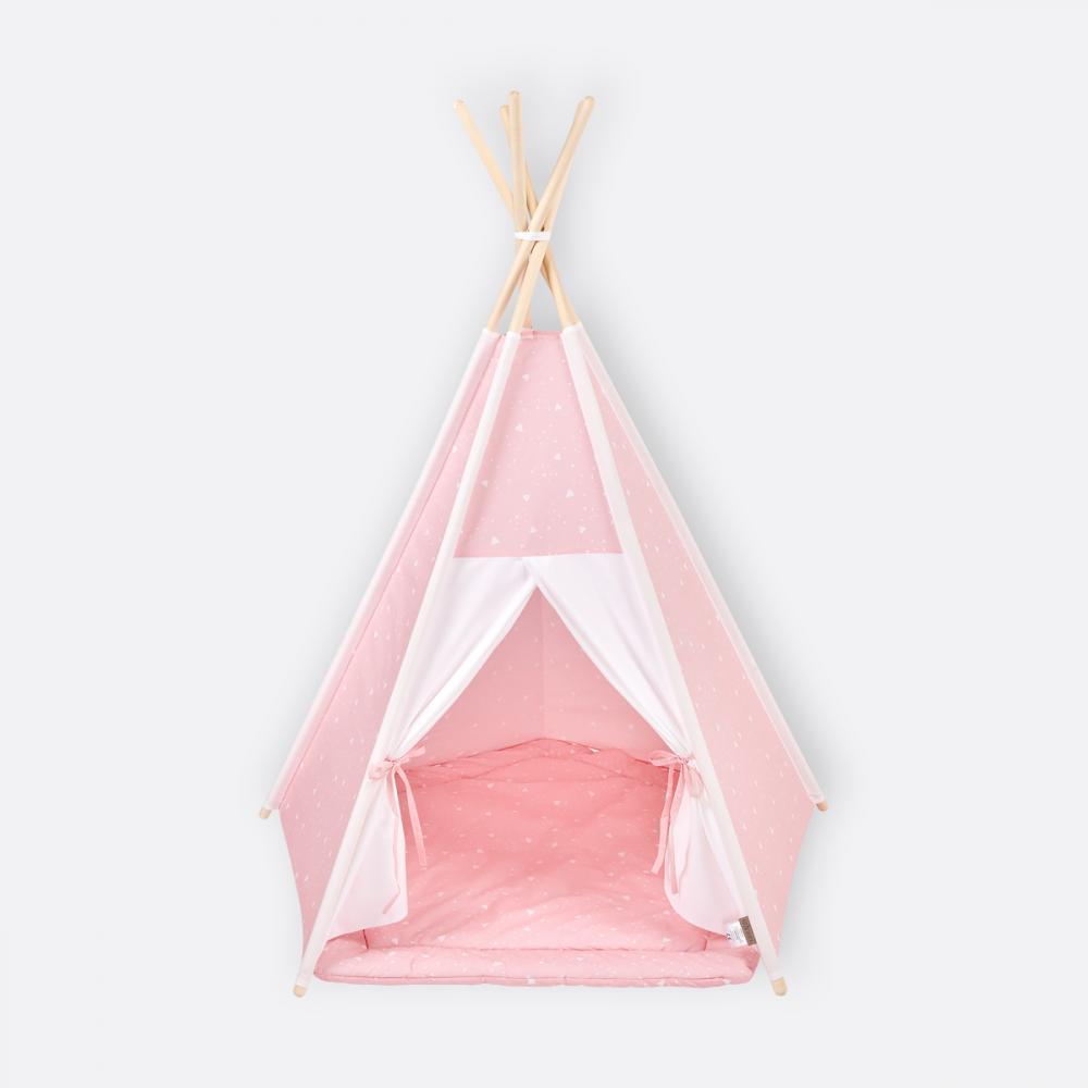 KraftKids Spielzelt Tipi Uniweiss und abgerundete Dreiecke weiß auf Rosa inkl. Spielmatte