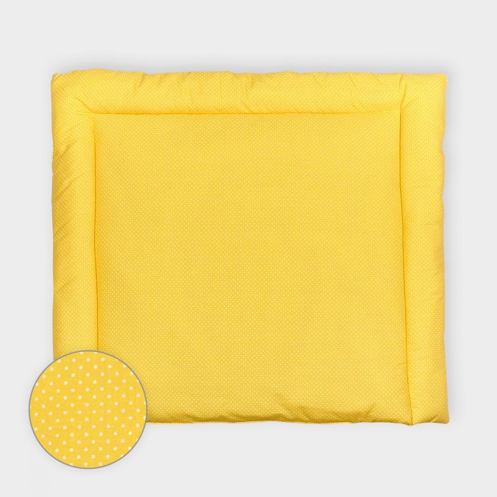 KraftKids Wickelauflage weiße Punkte auf Gelb 85 cm breit x 75 cm tief