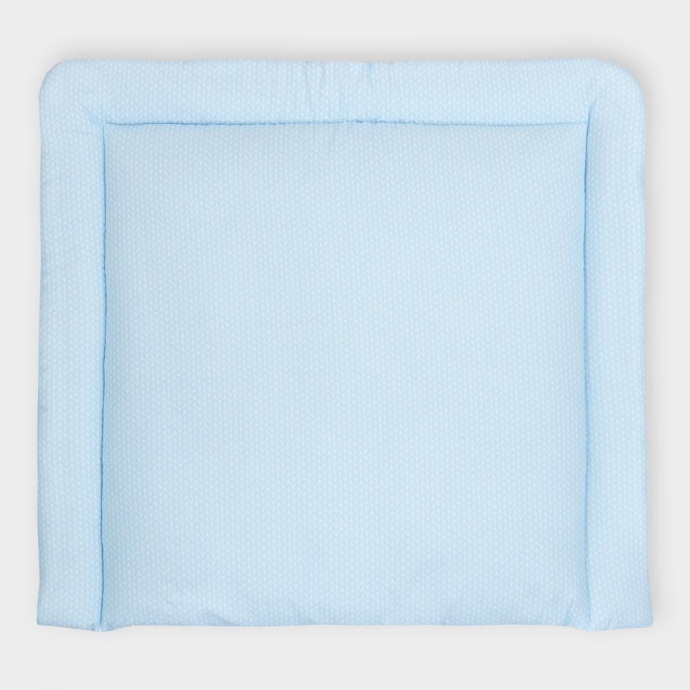 KraftKids Wickelauflage kleine Blätter hellblau auf Weiß 85 cm breit x 75 cm tief