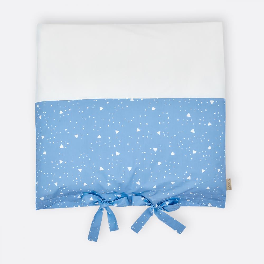 KraftKids Bezug für Wickeltischauflage abgerundete Dreiecke weiß auf Blau