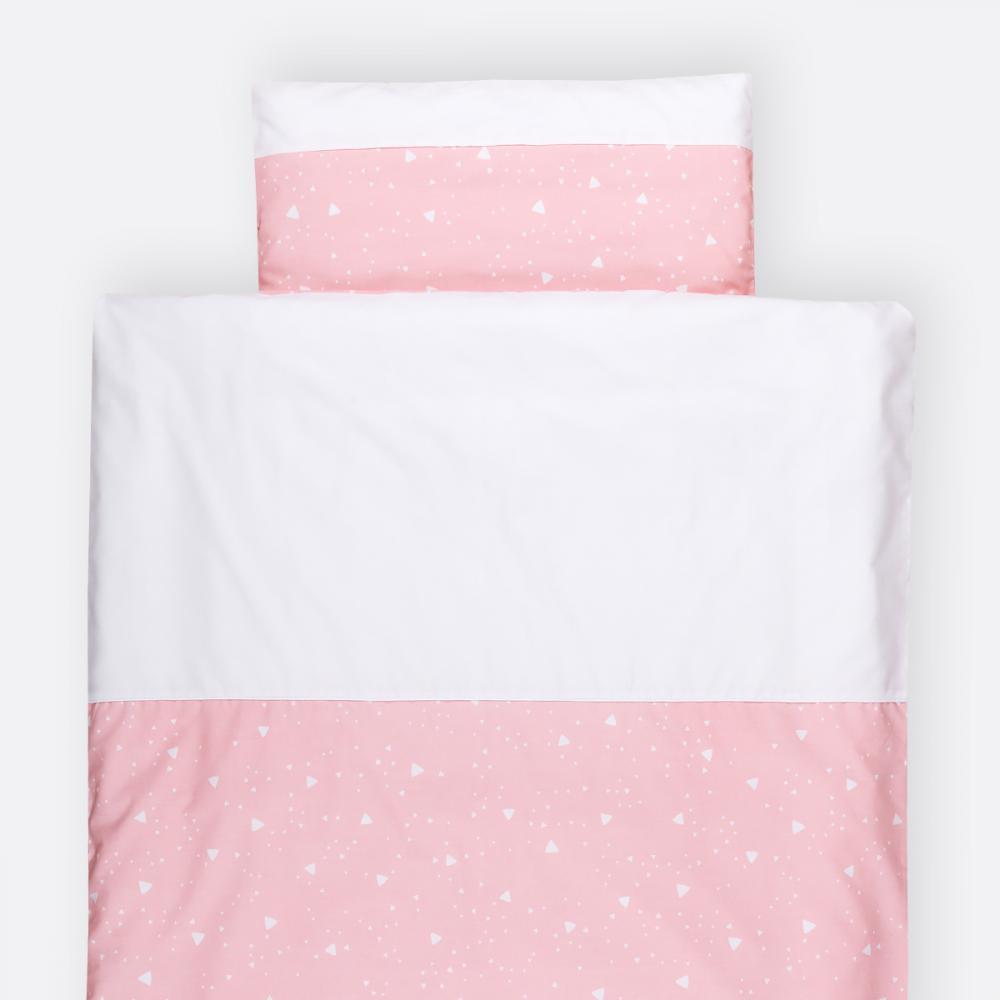 KraftKids Bettwäscheset abgerundete Dreiecke weiß auf Rosa 100 x 135 cm, Kissen 40 x 60 cm