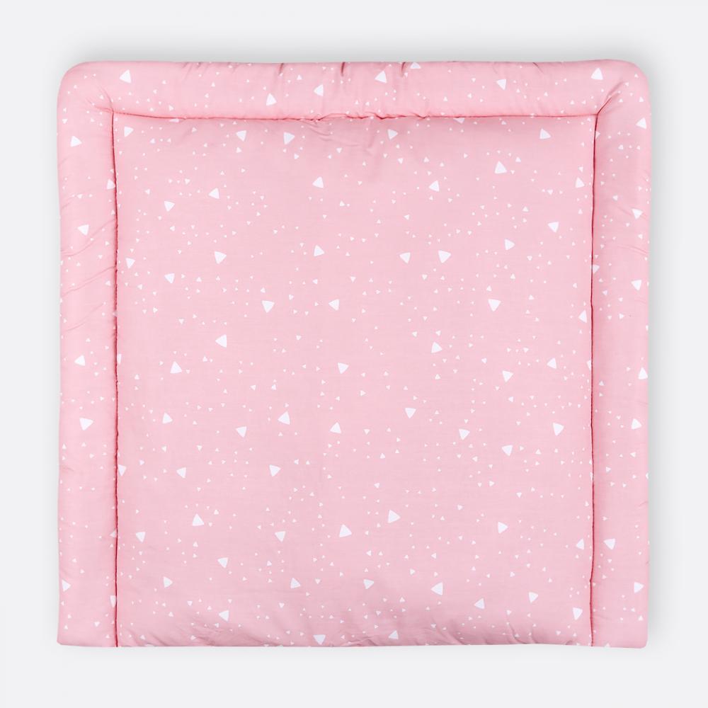 KraftKids Wickelauflage abgerundete Dreiecke weiß auf Rosa 85 cm breit x 75 cm tief