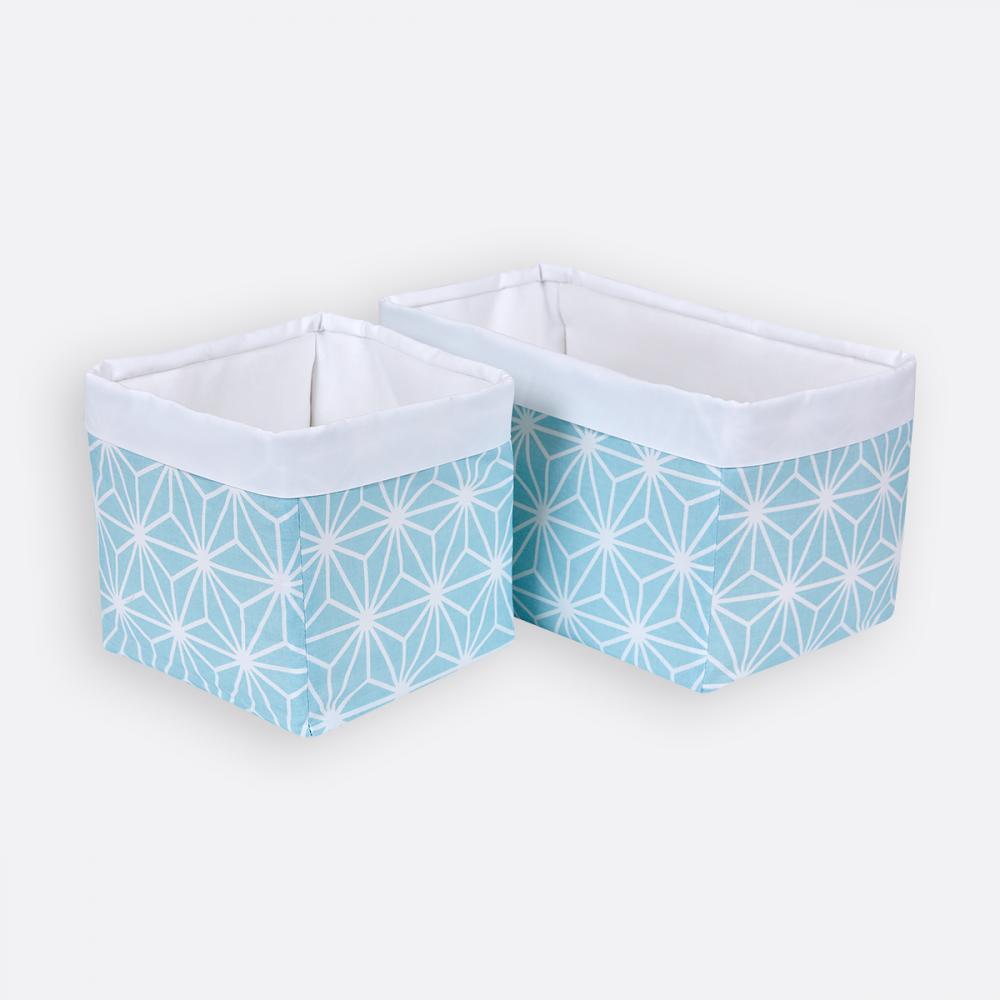 KraftKids Körbchen weiße Diamante auf Pastel Blau 20 x 20 x 20 cm