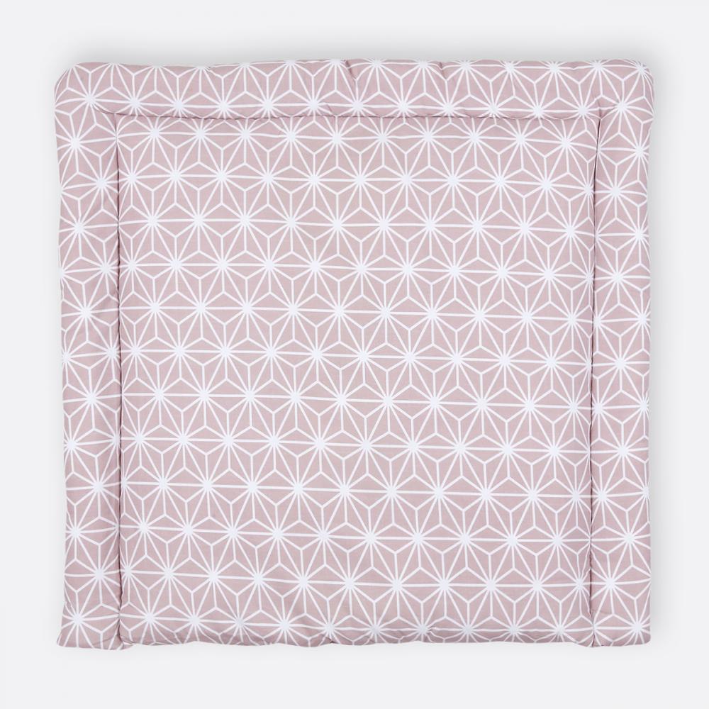 KraftKids Wickelauflage weiße Diamante auf Cameo Rosa breit 75 x tief 70 cm