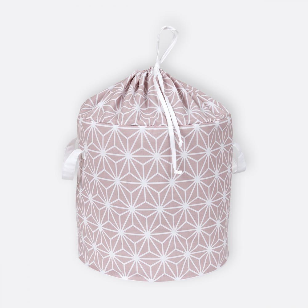 KraftKids Spielzeugkorb weiße Diamante auf Cameo Rosa