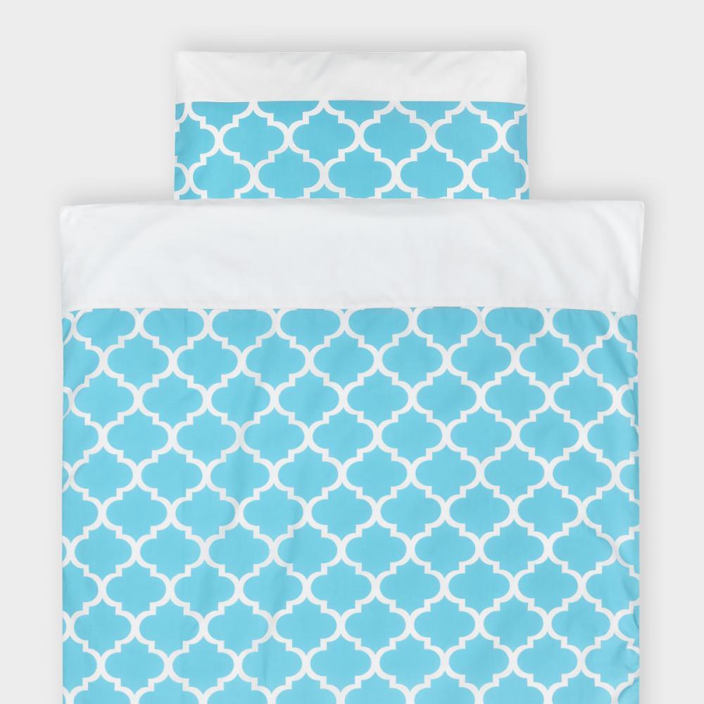 KraftKids Bettwäscheset Uniweiss und marokkanisches Klee türkis 100 x 135 cm, Kissen 40 x 60 cm