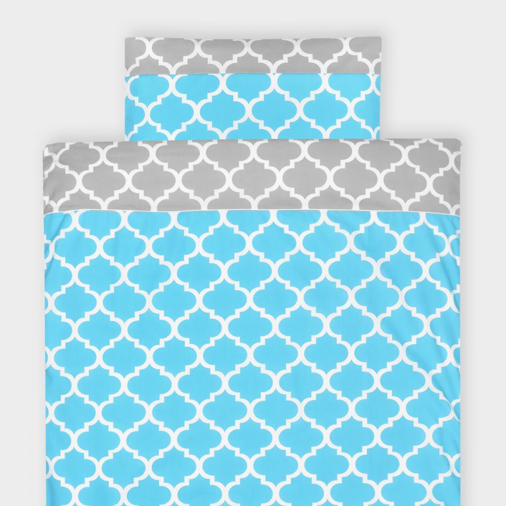 KraftKids Bettwäscheset marokkanisches Klee grau und marokkanisches Klee türkis 100 x 135 cm, Kissen 40 x 60 cm