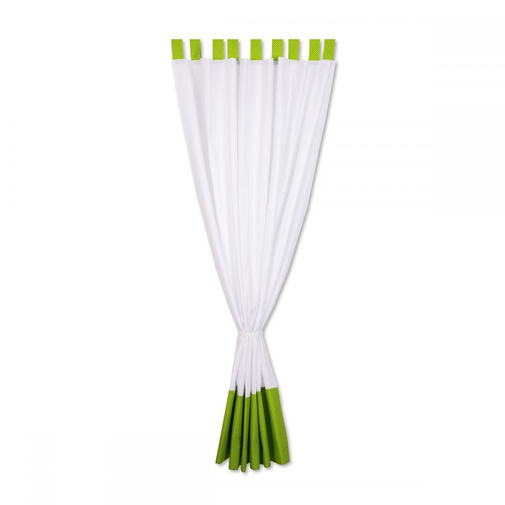 KraftKids Gardinen Uniweiss und weiße Punkte auf Grün Länge: 230 cm