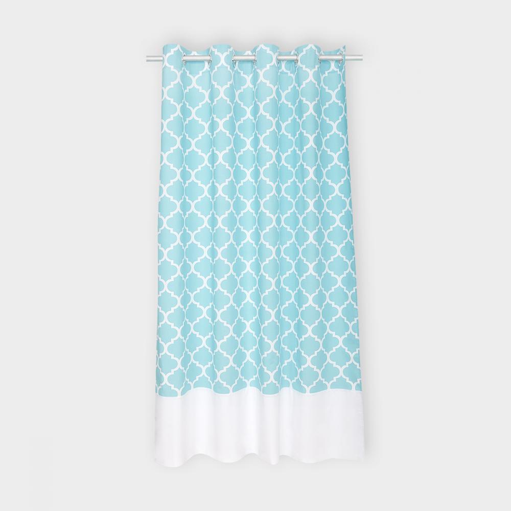 KraftKids Gardinen Uniweiss und marokkanisches Klee türkis Länge: 230 cm