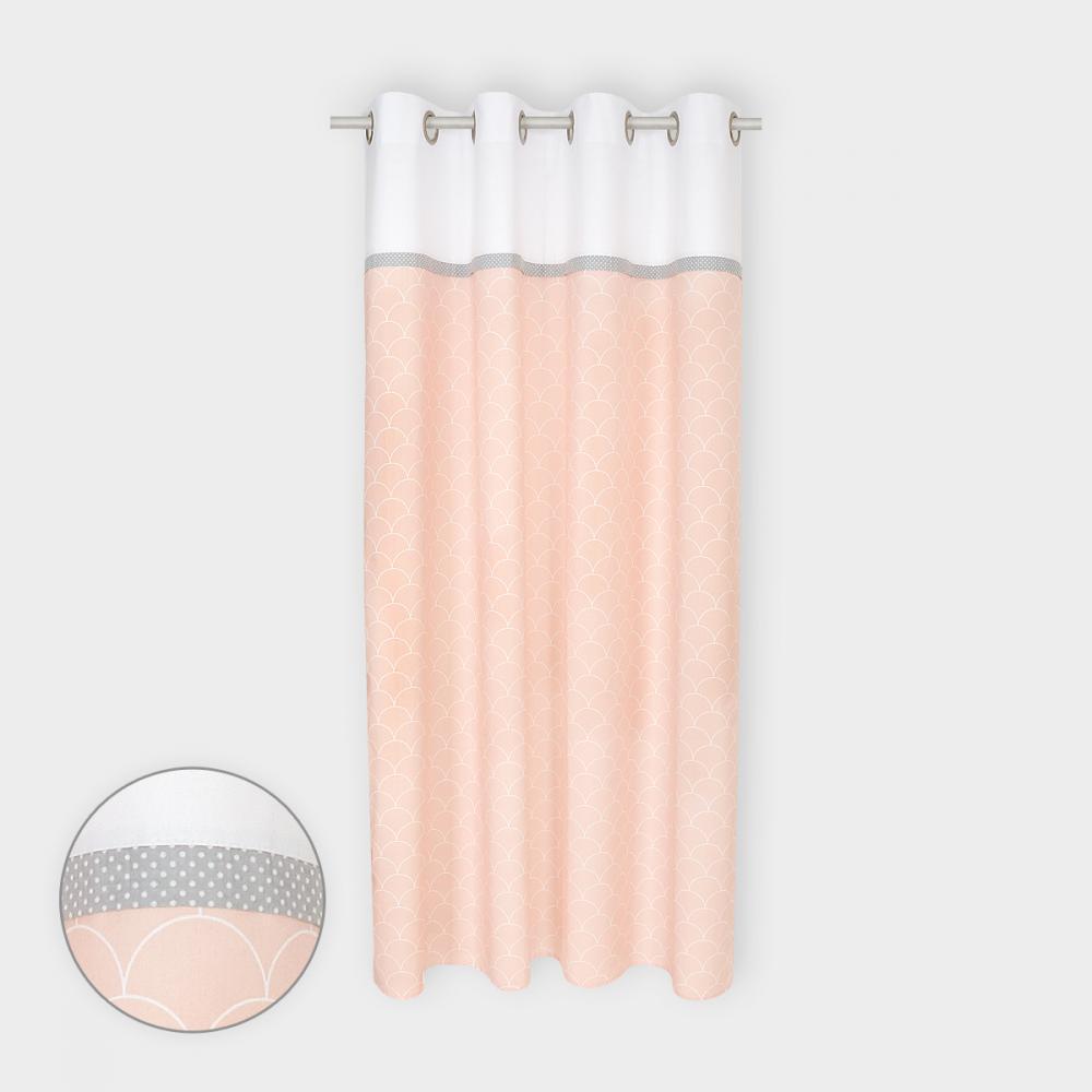 KraftKids Gardinen Uniweiss und weiße Halbkreise auf Pastelrosa Länge: 230 cm