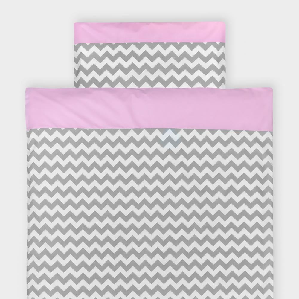 KraftKids Bettwäscheset Unirosa und Chevron grau 100 x 135 cm, Kissen 40 x 60 cm