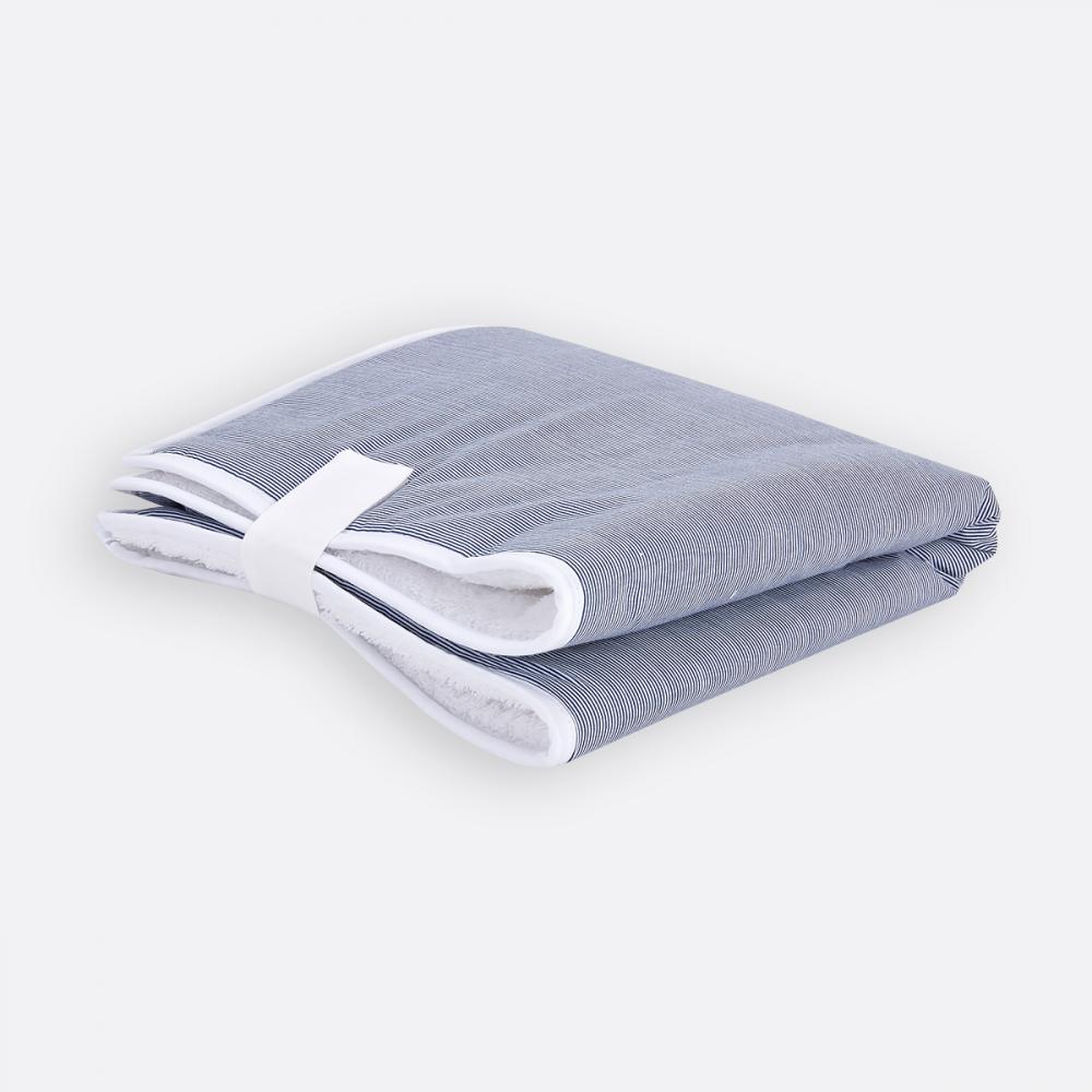 KraftKids Reisewickelunterlage dünne Streifen dunkelblau 3 Lagen wasserundurchlässig weich Frotte 100% Baumwolle