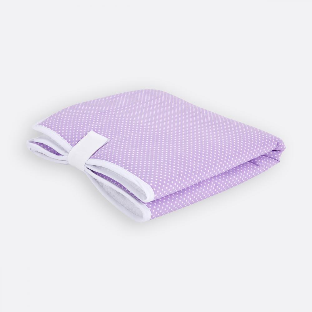 KraftKids Reisewickelunterlage weiße Punkte auf Lila 3 Lagen wasserundurchlässig weich Frotte 100% Baumwolle
