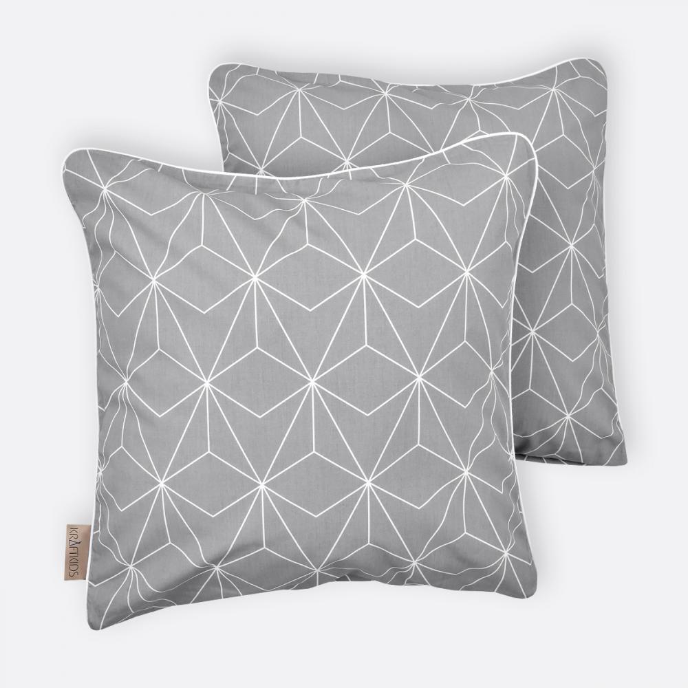 KraftKids Kissenbezug weiße dünne Diamante auf Grau