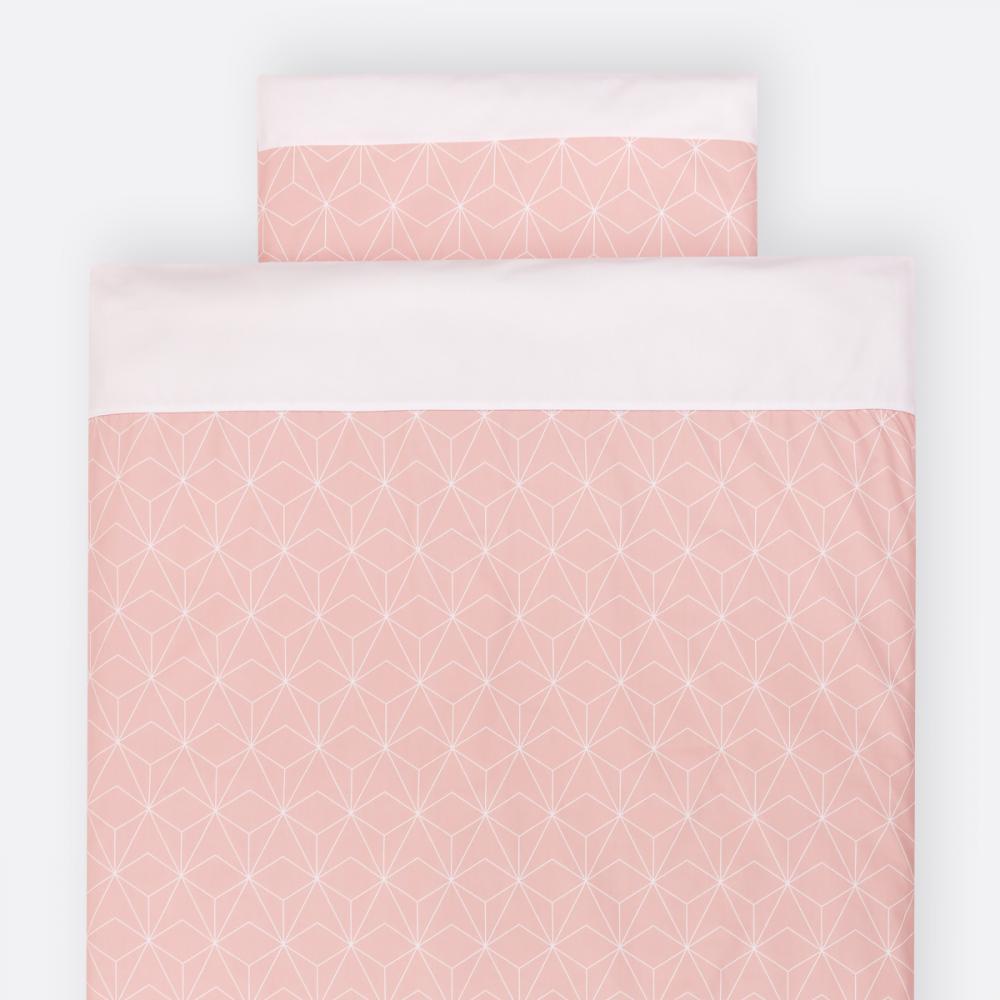 KraftKids Bettwäscheset weiße dünne Diamante auf Altrosa 100 x 135 cm, Kissen 40 x 60 cm