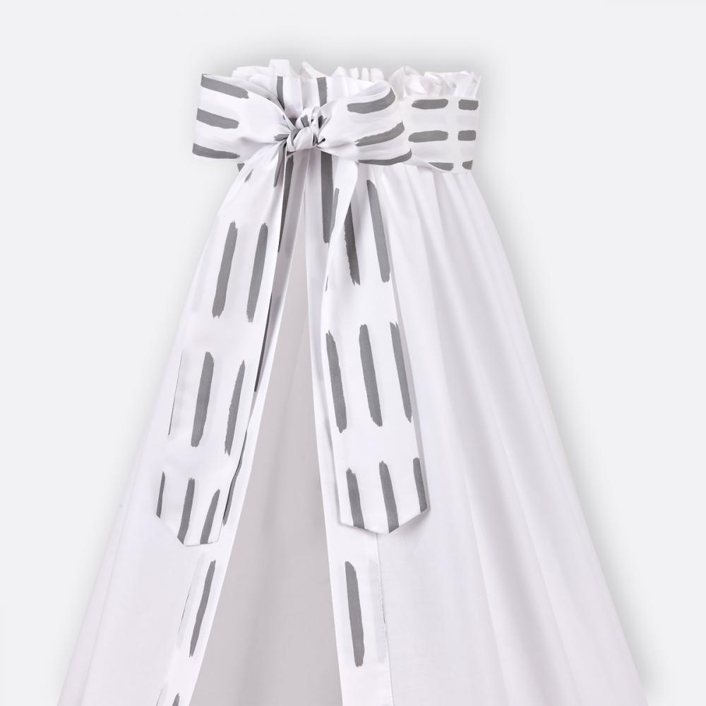 KraftKids Betthimmel graue Striche auf Weiß