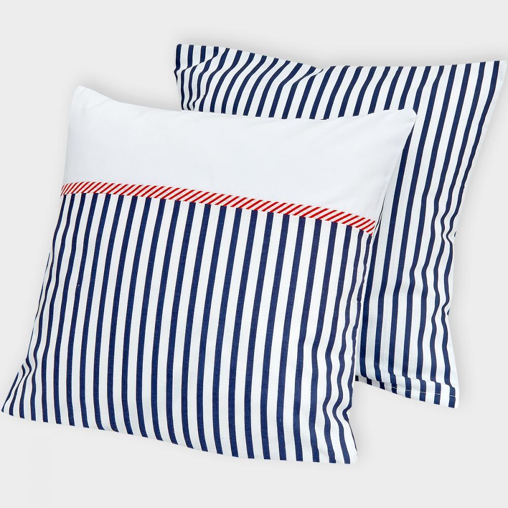 KraftKids Kissenbezug Uniweiss und Streifen dunkelblau
