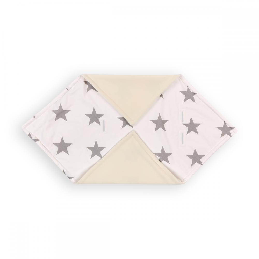 KraftKids Decke für Babyschale Winter große graue Sterne auf Weiss
