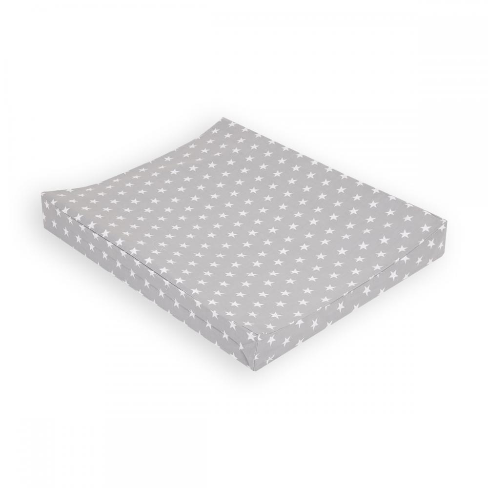 KraftKids Bezug für Keilwickelauflage kleine weiße Sterne auf Grau