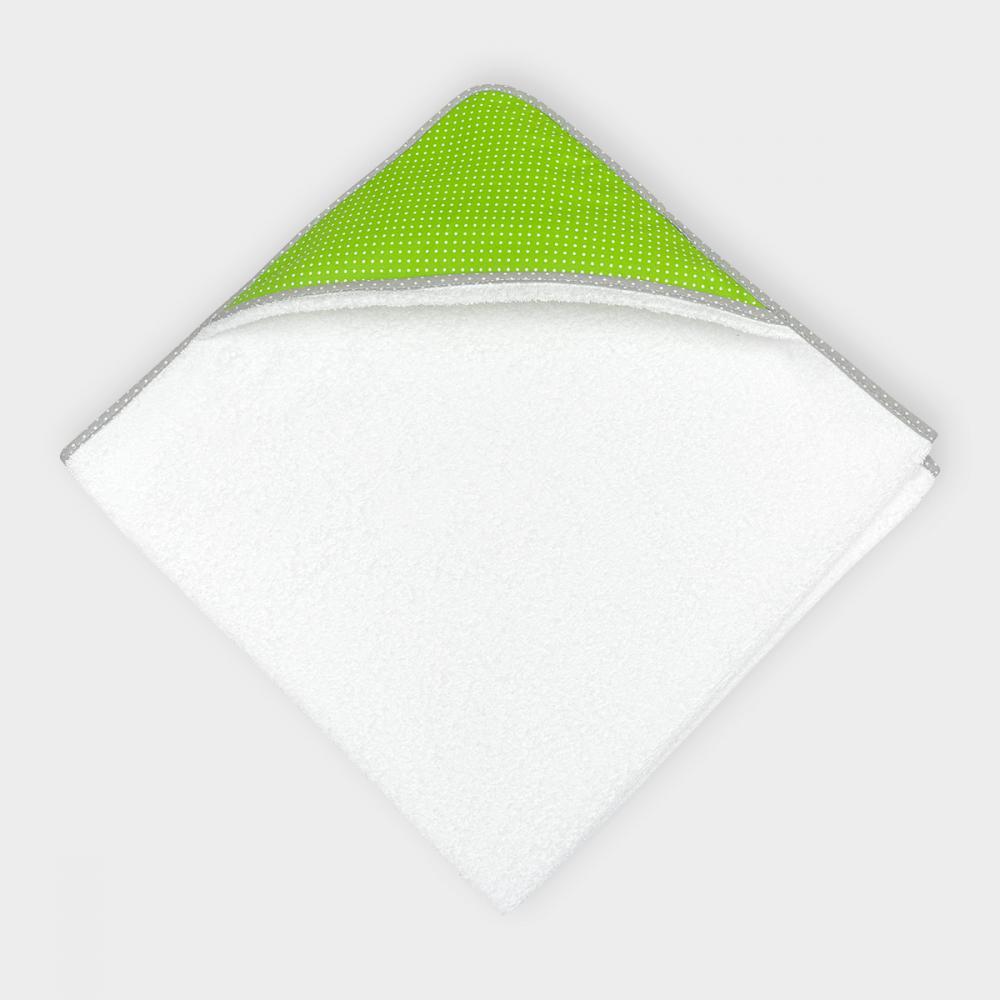 KraftKids Kapuzenhandtuch weiße Punkte auf Grün