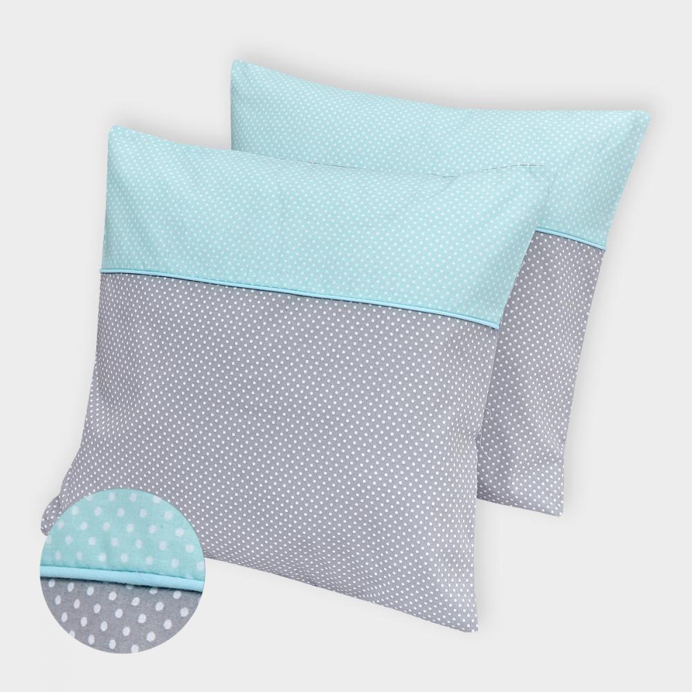 KraftKids Kissenbezug weiße Punkte auf Grau und weiße Punkte auf Mint