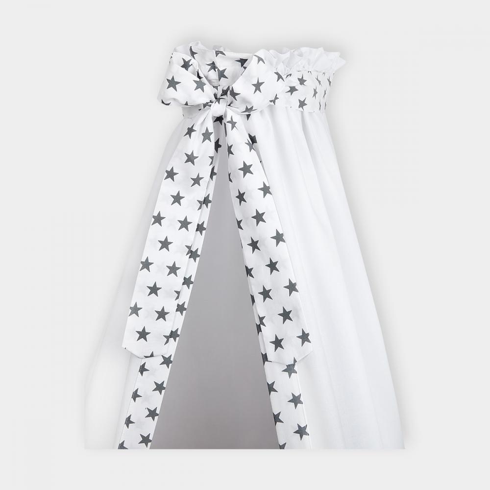 KraftKids Betthimmel kleine graue Sterne auf Weiss