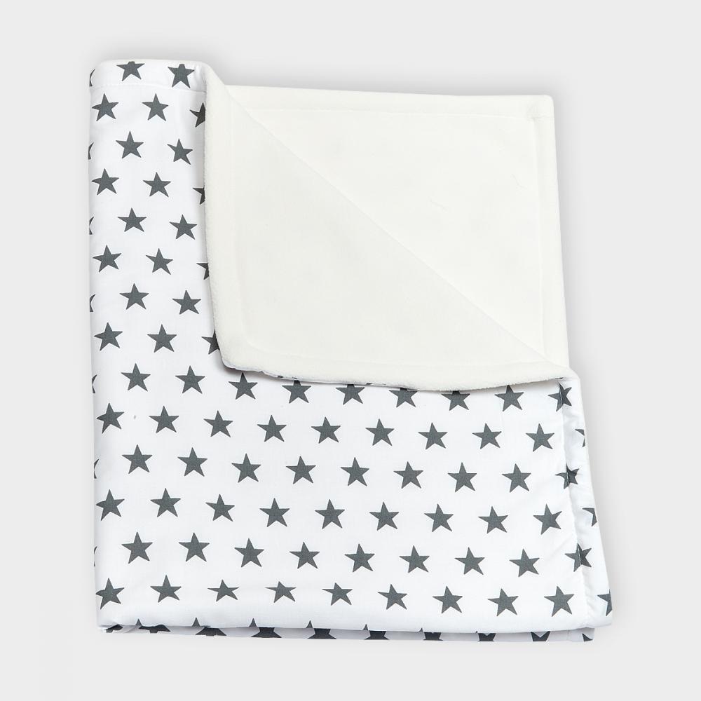 KraftKids Babydecke kleine graue Sterne auf Weiss